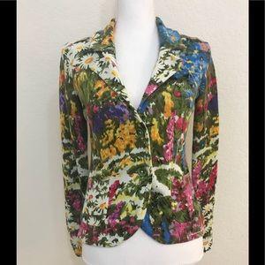 Anthropologie HWR Floral Cardigan Sweater Blazer S